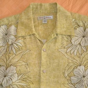 Tommy Bahama Flower Motif Linen Camp Shirt Large
